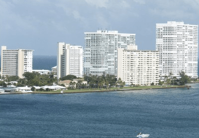 Miami beach front skyline